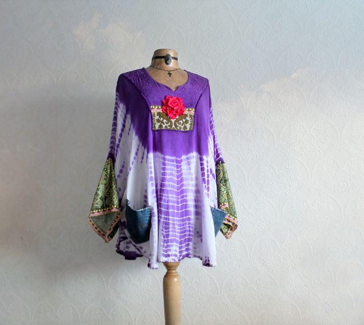 Plus Size Womens Hippie Shirt Boho Chic Clothing Purple Smock Top Tie Dye Print Festival Clothes 1970's Poncho Tunic Eco Wear 1X 2X 'DEIDRE' by BrokenGhostClothing on Etsy https://www.etsy.com/listing/218517366/plus-size-womens-hippie-shirt-boho-chic