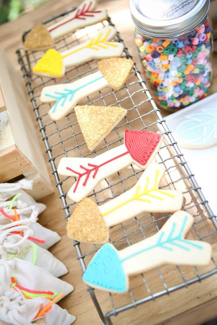 Arrow cookies! Bohemian + Tribal + Indian Camping Themed Birthday Party via Kara's Party Ideas KarasPartyIdeas.com! Printables, tutorials, recipes, cake, banners, giveaways and more! #boho #bohemian #bohoparty #bohemianparty #campingparty #campingpartyideas #indianparty #bohemianpartydecor #karaspartyideas #partyplanning #partystyling #eventplanning #partysupplies (64)