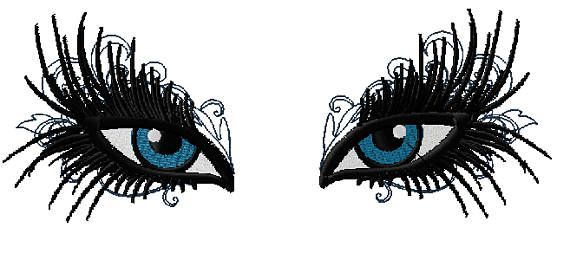 Glamorous Make Up Eyes Machine Embroidery Design w…