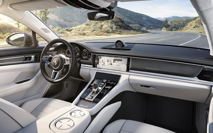 Porsche Panamera, 2017, interior, white leather, new Panamera