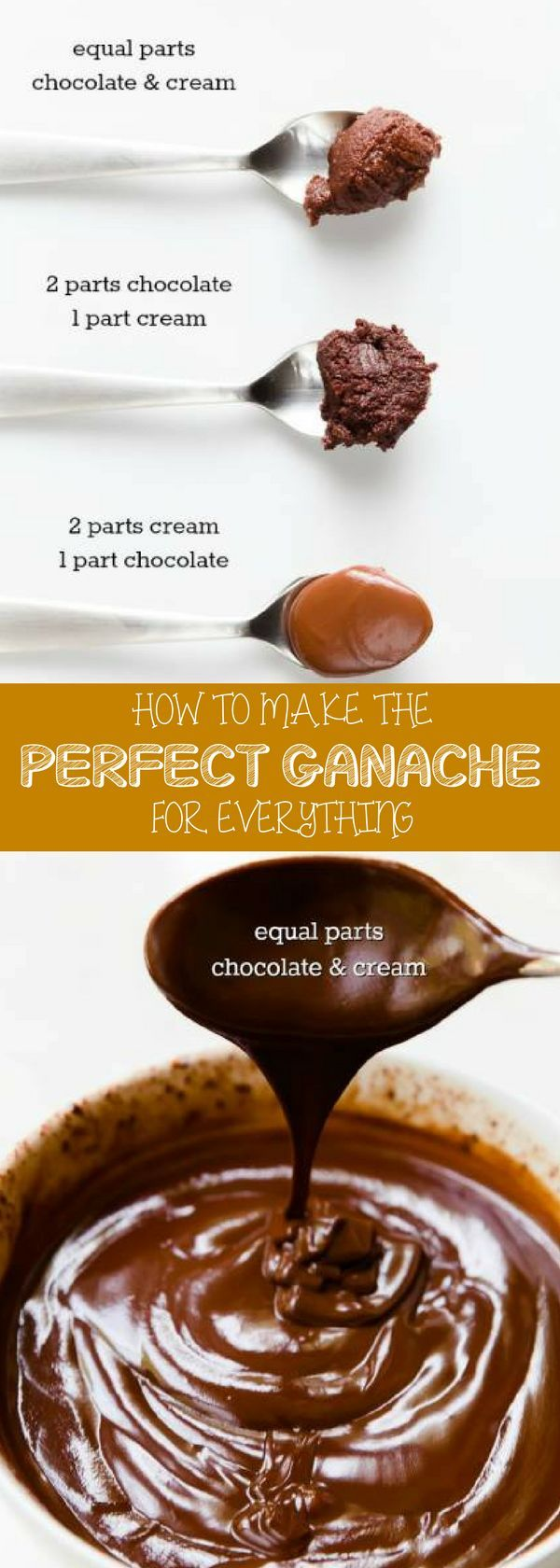Easy chocolate ganache recipe easy that is perfect for everything! By combining chocolate and heavy whipping cream, you can create cake filling, poured glaze, a spread or piped frosting, a decorative drizzle, or the base for truffles.
