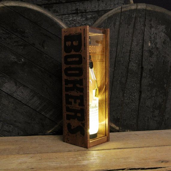 Booker S Bourbon Display Box Lamp Gift For Men Wood