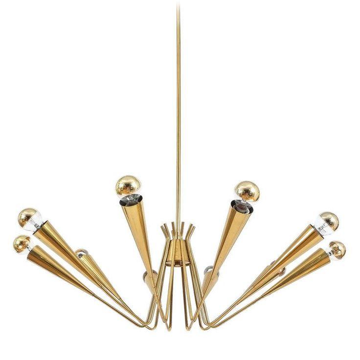 Delicate Austrian Spider, Sputnik Brass Chandelier 1