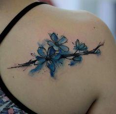 Blue Watercolor Flowers by Kamil Mokot