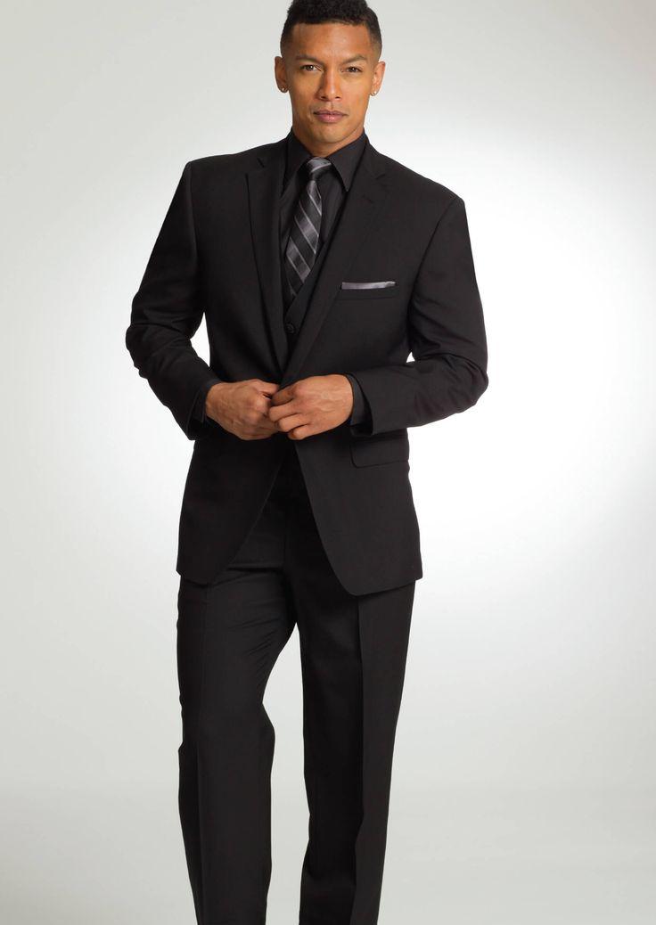 Black Valencia One Button Notch Dress Suit by Savvi
