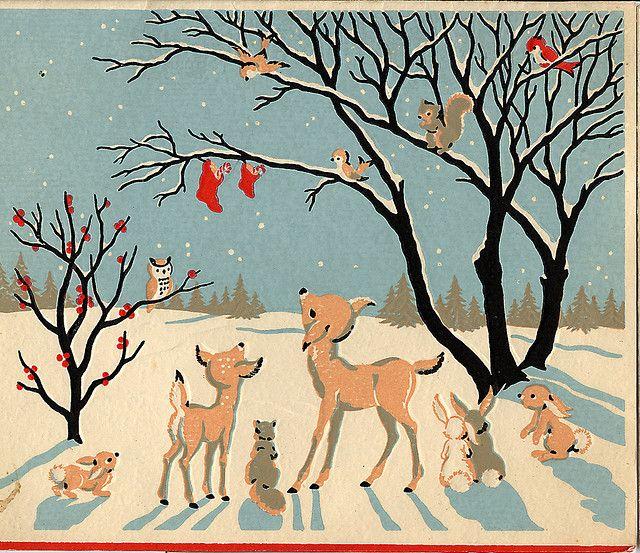 295 Best Vintage Christmas Cards Images On Pinterest Retro