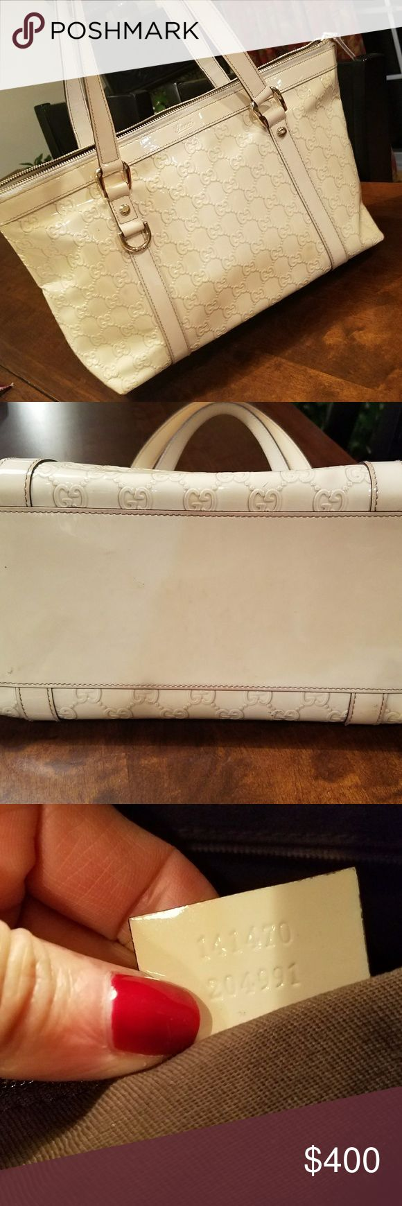 Authentic Gucci Abby Cream Patent Tote Beautiful bag & part of the popular Abby tote line Authentic and purchased by me in the Boston store. Used but still in really good condition. The color as turned a little more cream color than it was originally But its even & not spotty There's some slight signs of wear to bottom edge(tried to show) but its very hard to see because of where it's located Has both inside pocket & cell pocket But because phones are just getting larger I used it for…
