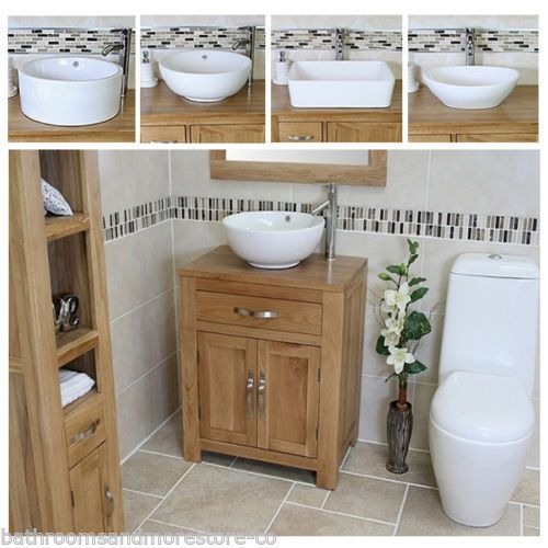 Bathroom Vanity Unit Oak Cabinet Furniture Wash Stand & White Ceramic Basin 502 | eBay