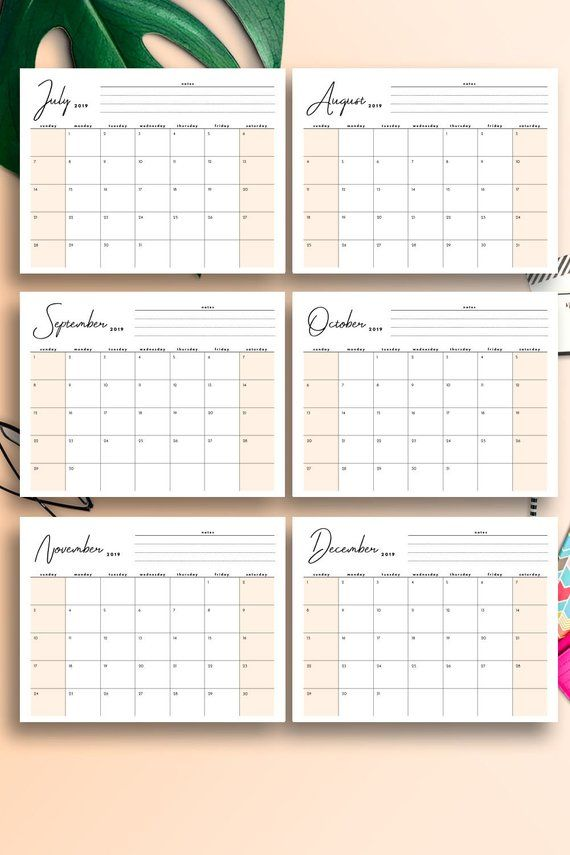 2019 Monthly Planner 2019 Desk Calendar 2019 Printable Calendar