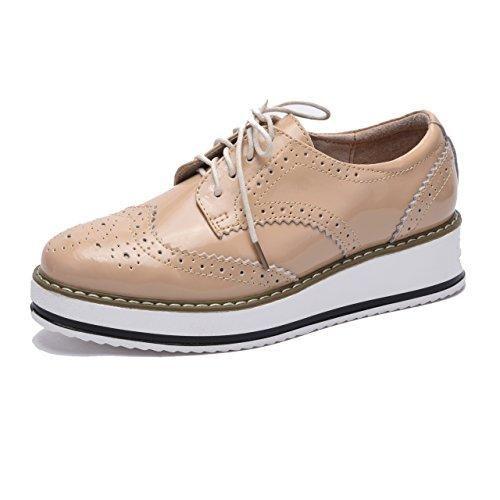 Oferta: 24.9€. Comprar Ofertas de Moonwalker Zapatos con Cordones de Cuero Mujer Oxford Cuña (EUR 36,Beige Brillante) barato. ¡Mira las ofertas!