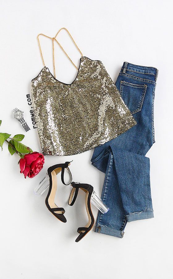 Gold Criss Cross Sequined Cami Top Season: Summer Color: Gold Pattern Type: Plain Neckline: Halter Top Material: Sequin Style: Club Decoration: Sequined Size Available: XS,S,M,L,XL,XXL