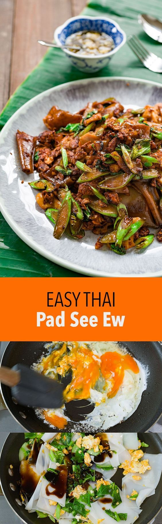 Pad See Ew (ผัดซีอิ๊ว) is a delightful stir-fry with broad rice noodles, chicken, egg and greens seasoned with sweet soy sauce.