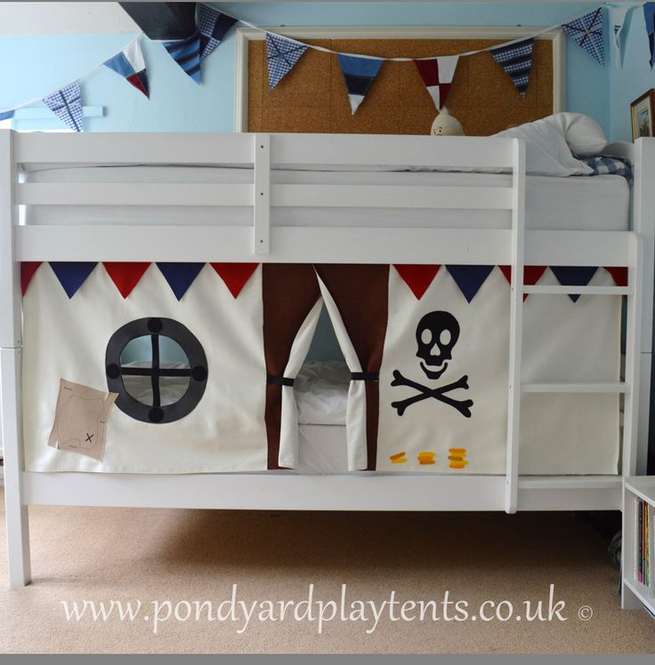 Pirate Ship bunk bed tent. Create a secret hideaway to inspire imaginative and creative play. Free shipping to UK! Hand made to order. by PondYardPlayTents on Etsy https://www.etsy.com/listing/192823412/pirate-ship-bunk-bed-tent-create-a