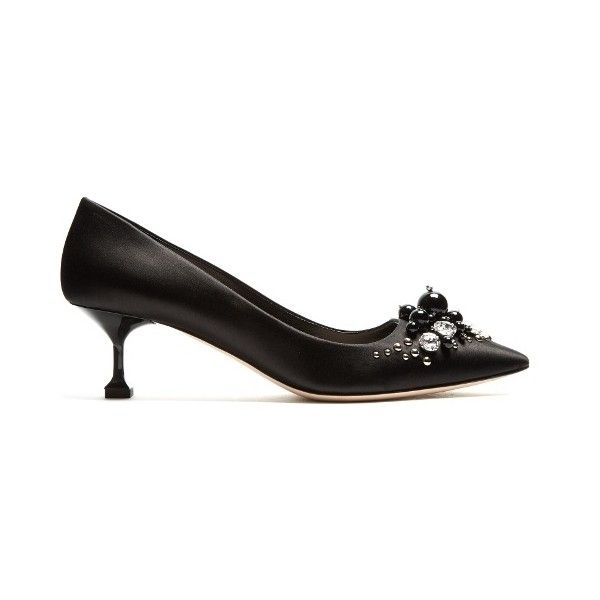Crystal-embellished satin pumps Miu Miu MATCHESFASHION.COM ($890) ❤ liked on Polyvore featuring shoes, pumps, black, studded pumps, studded pointed toe pumps, black satin pumps, black evening shoes and black studded pumps