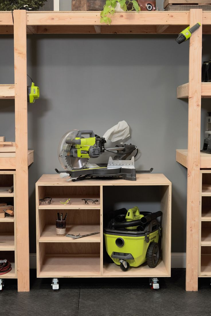 #DIY Miter Saw Table by Ana White. Click thru for instructions on this versatile storage solution.