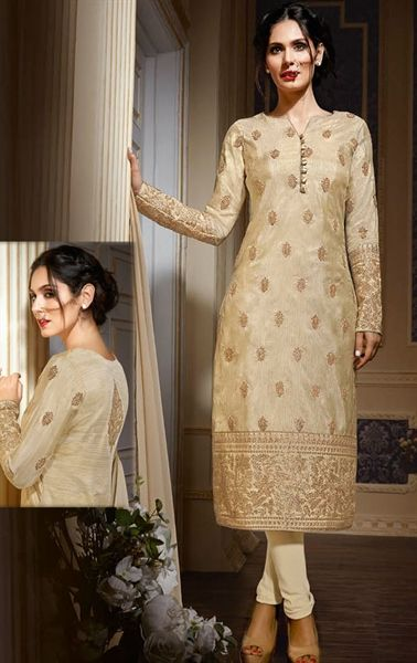 Mesmerizing Dark Cream Designer Salwar Suit