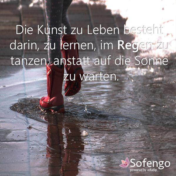 Die Kunst zu Leben besteht darin, zu lernen, im Regen zu ...