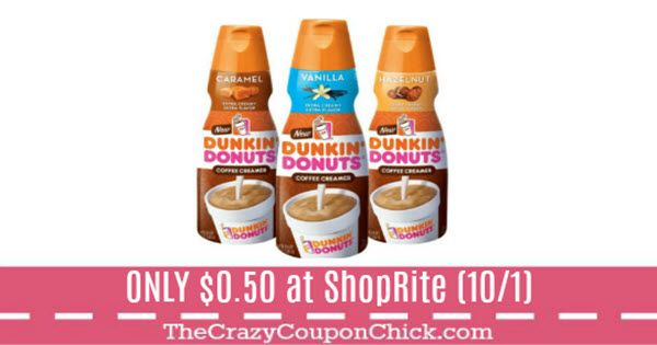 HOT New Printable! Score Dunkin Donuts Creamer for $0.50 at ShopRite (Starting 10/1)