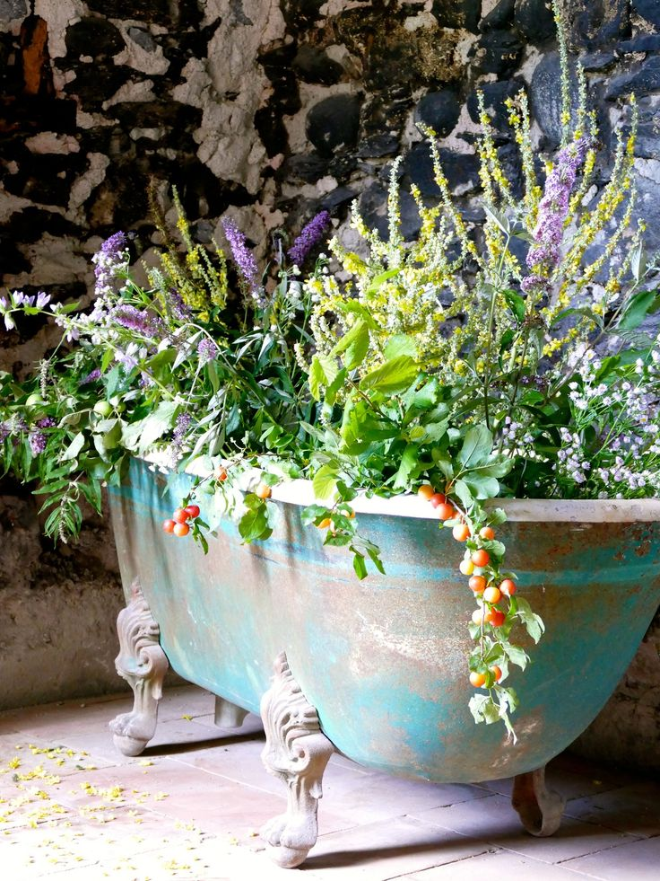"We purchased this bathtub from a nearby brocante. It was so heavy it took eight people just to get it up the stairs and move it inside the Château! At the moment it is just used for decoration (a true Château-sized ""flower vase""), but we may decide to re-enamel and use it in the future—you never know!"
