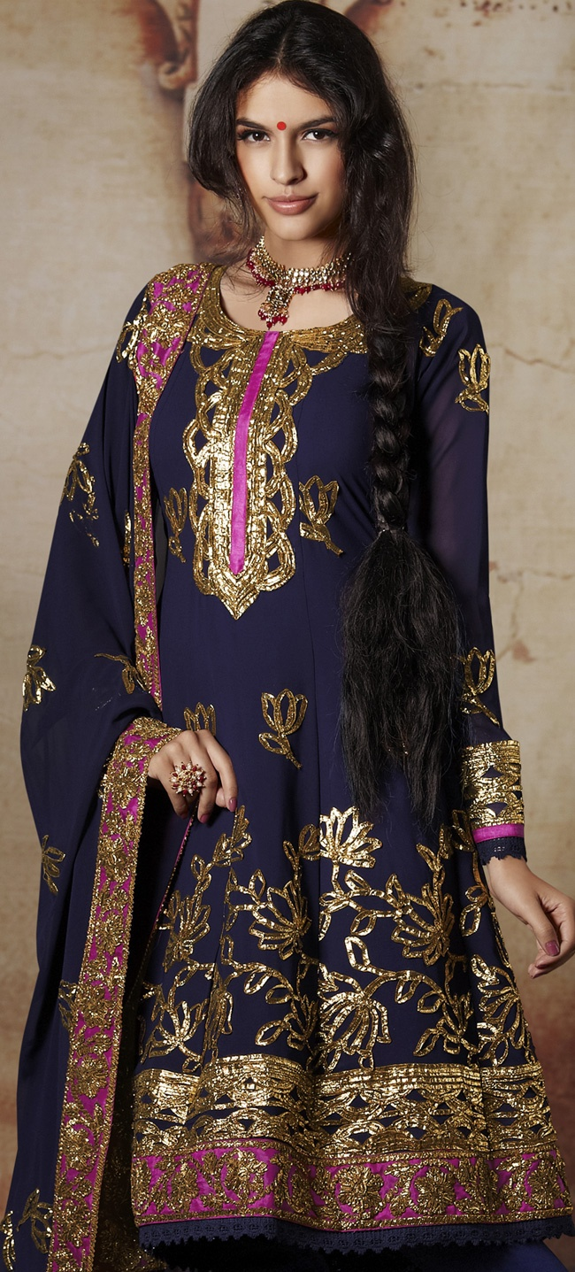Navy blue and pink gota work suit.
