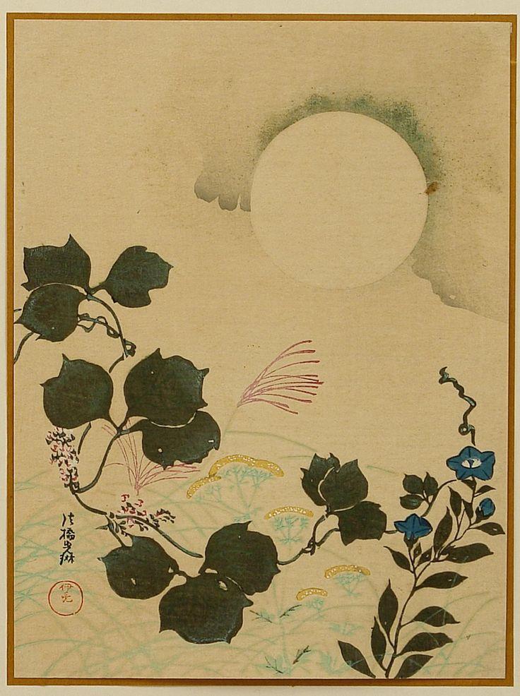 Ogata Korin: Moon and Autumn Flowers - Artelino - Ukiyo-e Search