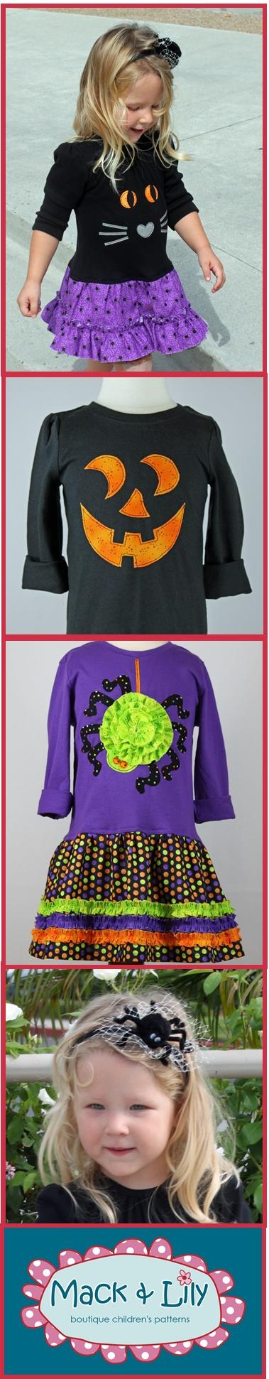 Halloween applique t-shirt dress spider headband pdf sewing pattern tutorial girls toddlers kids