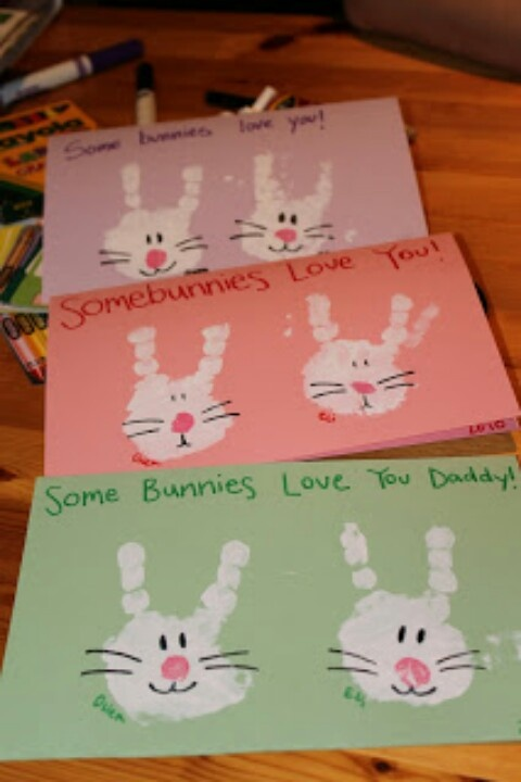 Easter project. Bunnies with kids hands. Only put paint on 2 fingers
