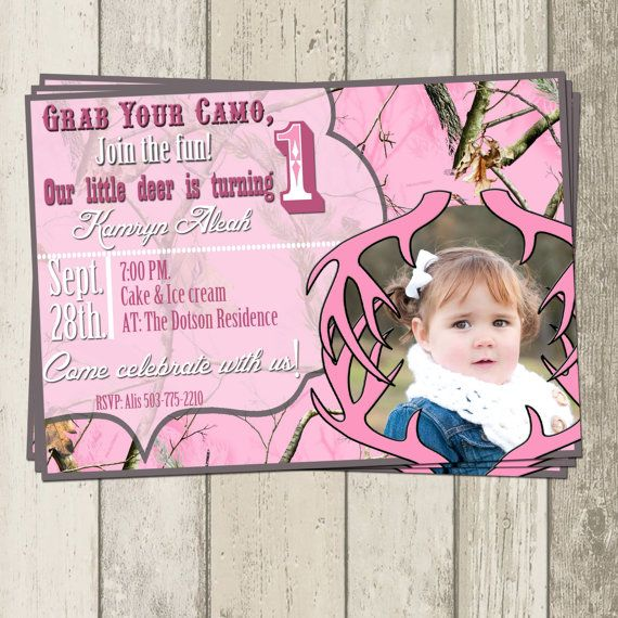 Real Tree Pink Camo Birthday Party Invitation by DecorAtYourDoor