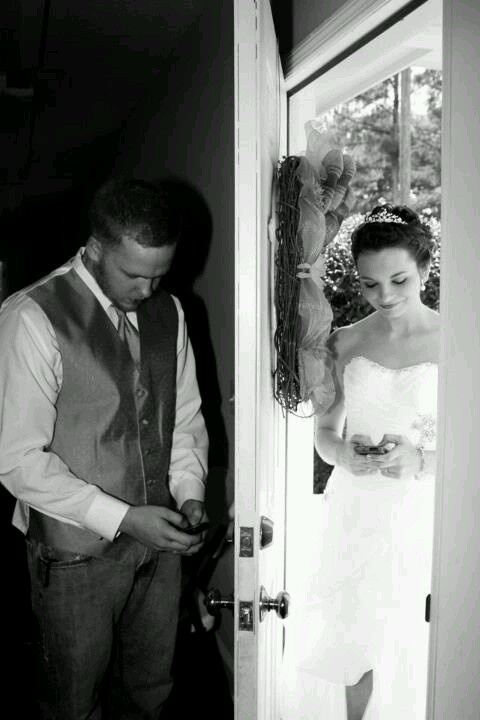 The Bride And Groom Together Before Ceremony But Not Seeing Each Other