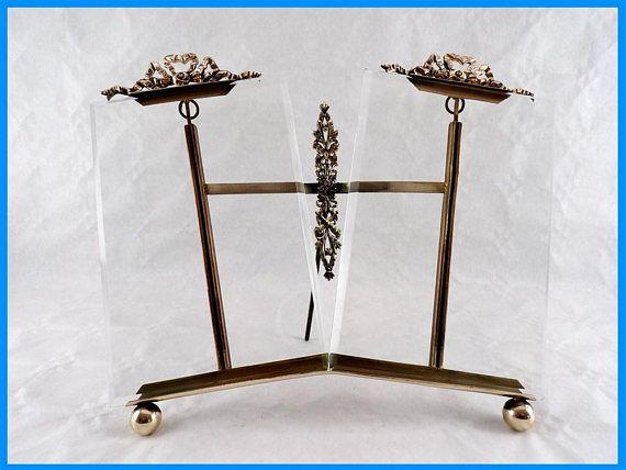 Cadre photo ancien double en bronze style Louis XVI Marie