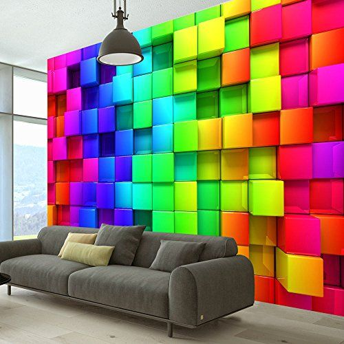 Fotomural original con tema abstracto y cuadros de colores con relieve para dar esa imagen parecida al 3D, con esto le dará a su dormitorio mucho estilo y m