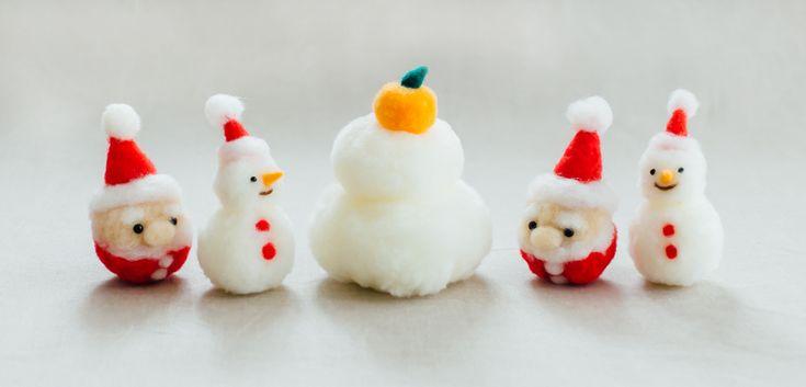 アクレーヌボンボンのクリスマス飾り・鏡餅 | 編み物キット販売・編み方ワークショップ|イトコバコ