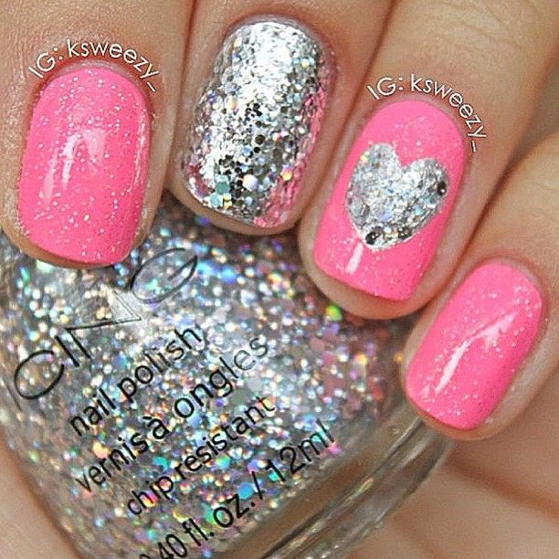 Cute Pink and Sparkley W/ Heart Nails