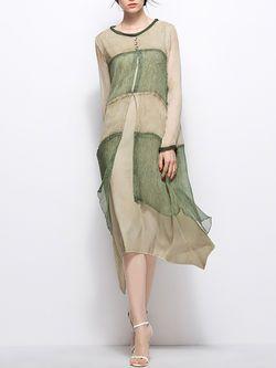 Paneled Asymmetrical Midi Dress