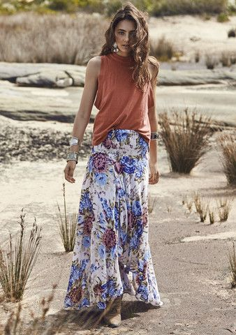 Auguste - The Open Road Shirred Waist Maxi Skirt - Texan Bloom Natural