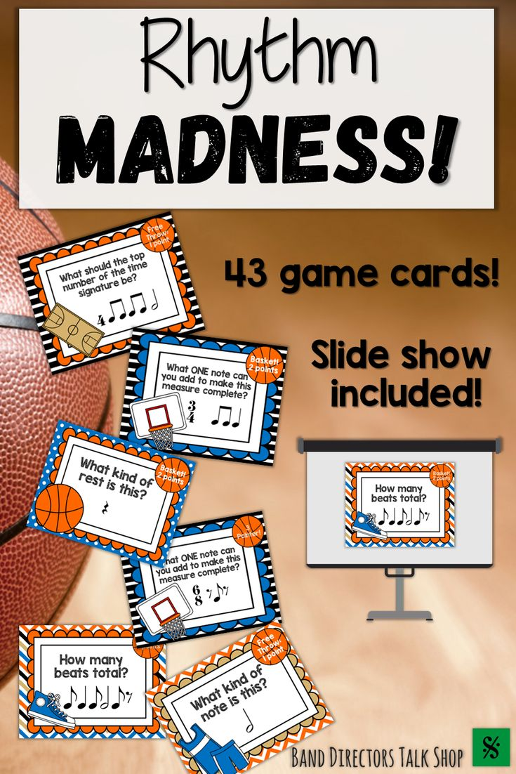 Teachers, are you looking for a fun music lesson or activity for March Madness? This Music Madness Rhythm game is for you! Students will love the basketball music game! This music game is perfect for a music sub plan! This rhythm activity would make a great music sub lesson plan for upper elementary music students as well as beginning band, choir, or orchestra. A fun March music activity! Improve rhythm reading and sight reading skills with fun games for your music classroom!