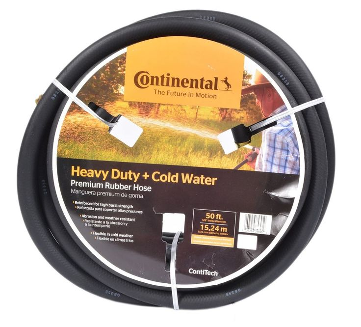 Garden Water Hose 50 ft Commercial Grade Heavy Duty Rubber Black Water Hose #ContinentalContiTech