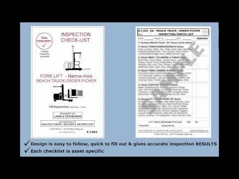 """Forklift Inspection Checklist Narrow Aisle Reach truck & Order Picker #2-003 The Checker"" Embedded image permalink https://www.youtube.com/watch?v=oJAySipn2KU&index=45&list=UUFOXQFpRcuX3e0w6qsrmvkQ"