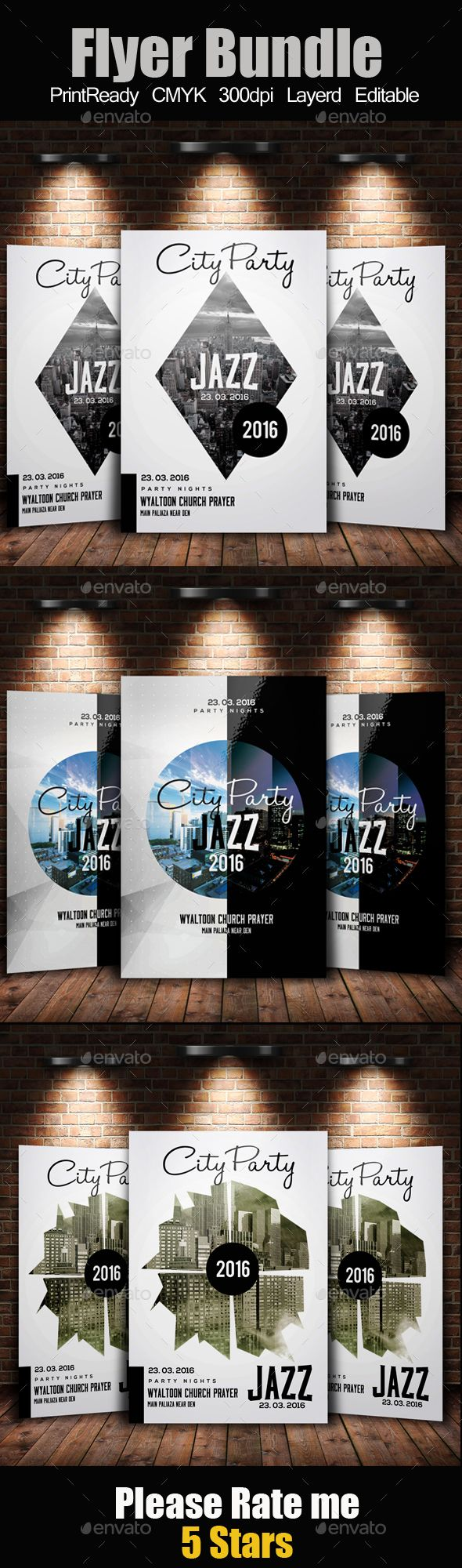 Night City Party Flyer Template Bundle 238