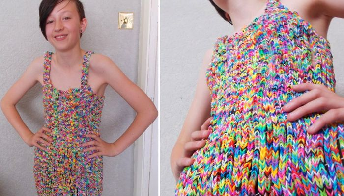 The $291,000 Rainbow Loom Dress. Over 20,000 bands have been used.
