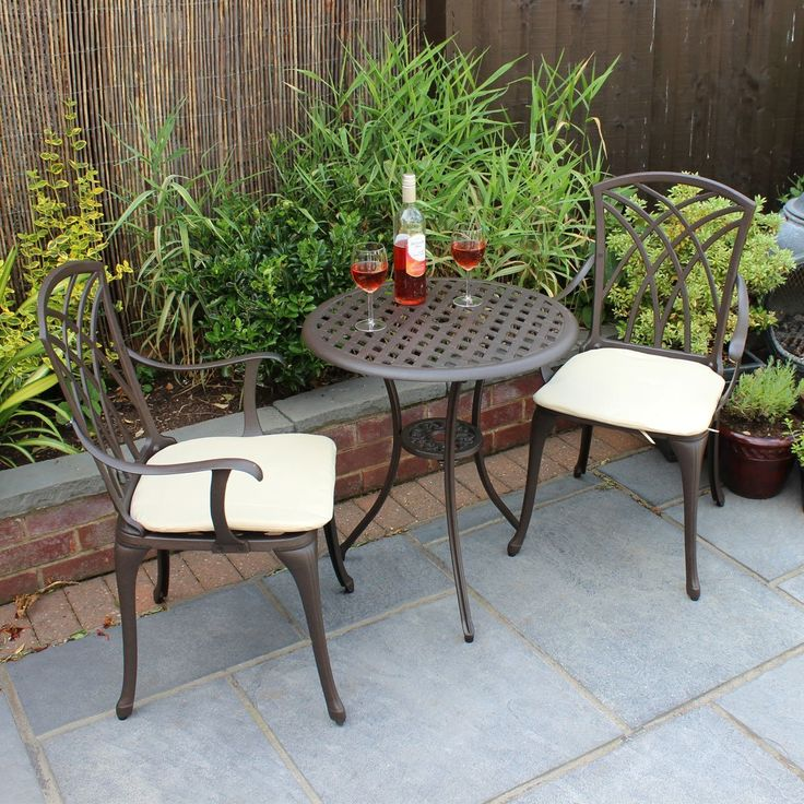 bentley garden furniture 3 piece cast aluminium bistro set table 2 arm chairs amazon - Garden Furniture 3 Piece