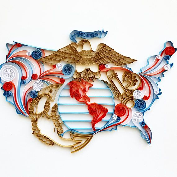 United States Marine Corp Paper Art - USMC - Wall Art - Quilling Art - Marine Corps Logo - Quilled Art - Wall Decor - Gift for Him