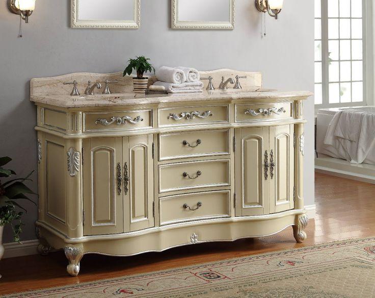 17 best images about cottage bathrooms vanities on pinterest white bathroom vanities cottages for Antique white double bathroom vanity