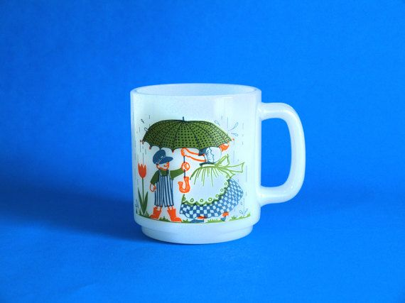 Glasbake Bonnet Girl Umbrella Boy Mug or Coffee Cup  by FunkyKoala