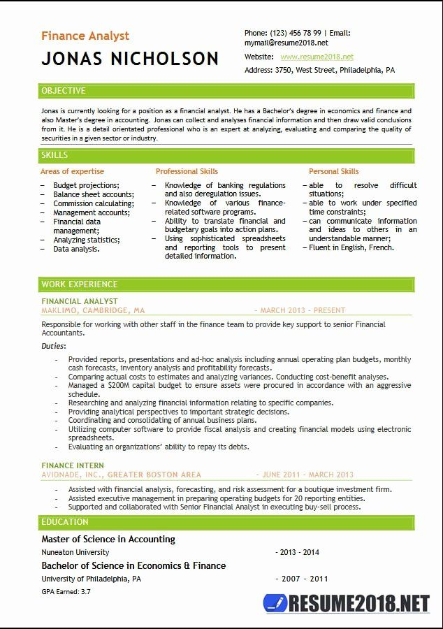 Financial Analyst Resume Example Elegant Finance Analyst Resume Templates 2018 Resume 2018 In 2020 Resume Examples Job Resume Examples Finance