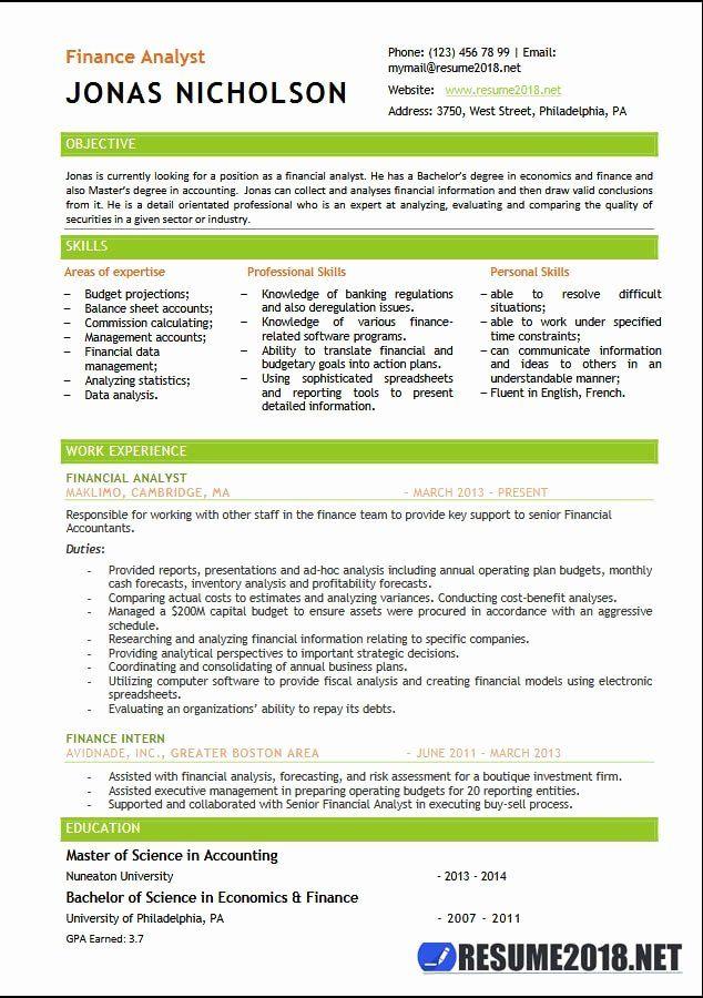 Finance Analyst Resume Examples Elegant Finance Analyst Resume Templates 2018 Resume 2018