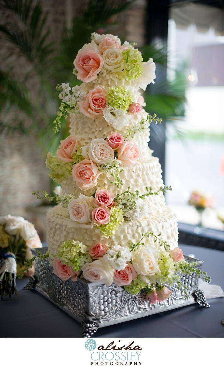 Brides Cake/ Ruffled Wedding Cake with Flowers  Dreamcakes Bakery, Birmingham, Alabama  www.alishacrossleyphotography.com