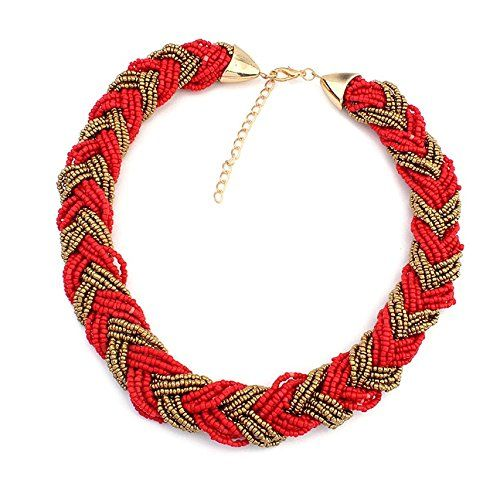 "Boho Chic Multiple Strand Red Bronze Two Color Seed Beads Necklace Choker Necklace for Women Bridesmaid Girlfriend Bohemian 17"" Long Jewelry Etc. http://www.amazon.com/dp/B00OT4EJT6"