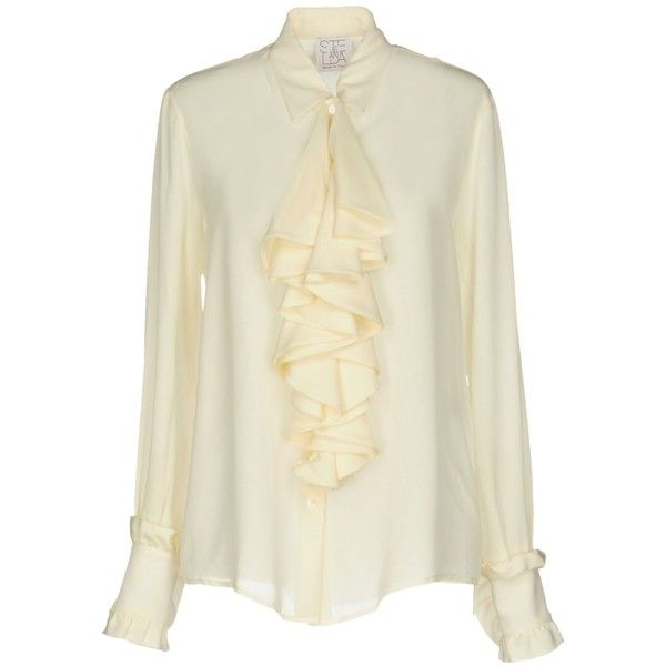Stella Jean Shirt ($435) ❤ liked on Polyvore featuring tops, ivory, beige long sleeve top, long sleeve shirts, beige shirt, ivory long sleeve top and ivory top