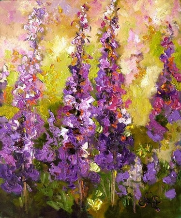 Lupines Impressionist Flower Painting  http://www.colorprintingcentral.com/poster-printing.html